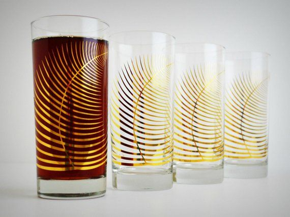 Corporate Gifts, Metallic Gold Fern Glasses - Set of 48 Glasses, Company gifts, ...
