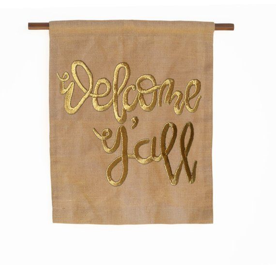 Custom Wall Art, Bespoke Wall Hanging, Gold Welcome Y'all, Corporate Gifts, ...