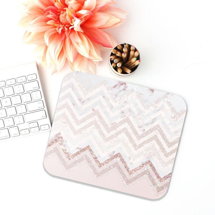 Glitter Chevron Print Mouse Pad, Desk Accessories, Office Decor for Women, Offic...