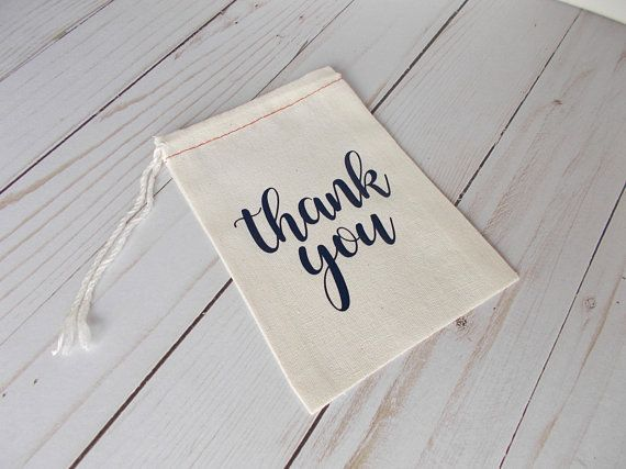 Thank You Favor Bags Personalized Pouches Navy Baby Shower