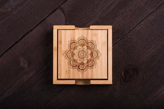 Wooden Coasters, Mandala, Henna Wood Burned, Custom Bamboo Coaster Set, Wedding ...