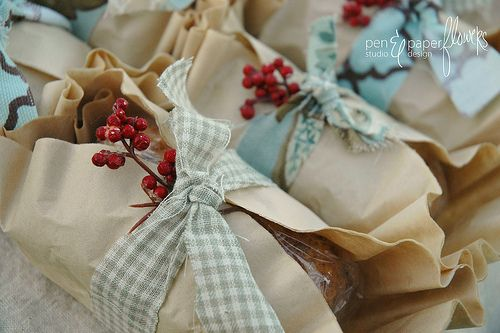 Gift wrapping food.