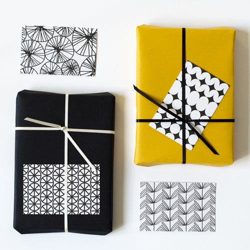 patterned gift tags, black by Jessica Nielsen