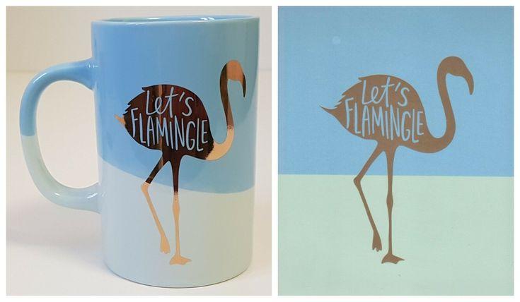 Flamingo Coffee Mug and Art Poster Set Let's Flamingle Blue Gold Indigo NEW ...
