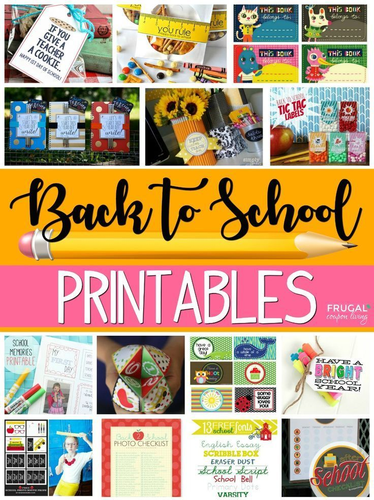 Free back to school printables for the new year - lunch notes, teacher gifts, sc...