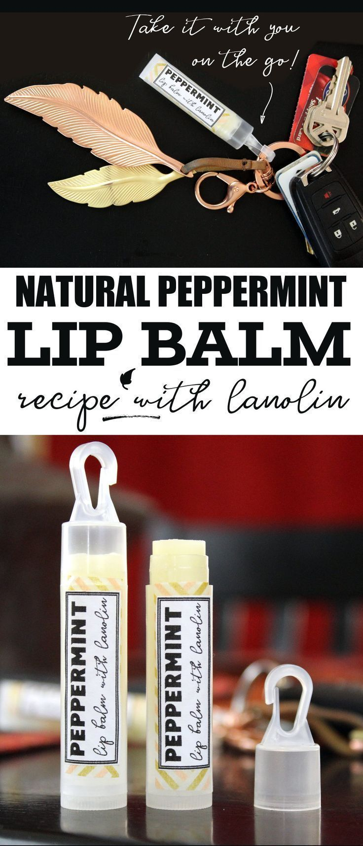 Peppermint lip balm recipe for natural winter skin care. Learn how to make this ...