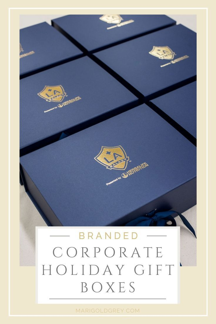 HOLIDAY GIFTS// Custom designed holiday gift boxes with company logo and brand t...