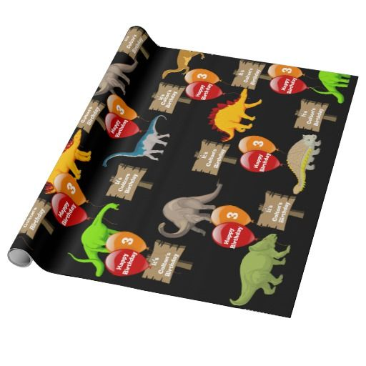 Personalized Name & Age Dinosaur Birthday Wrapping Paper
