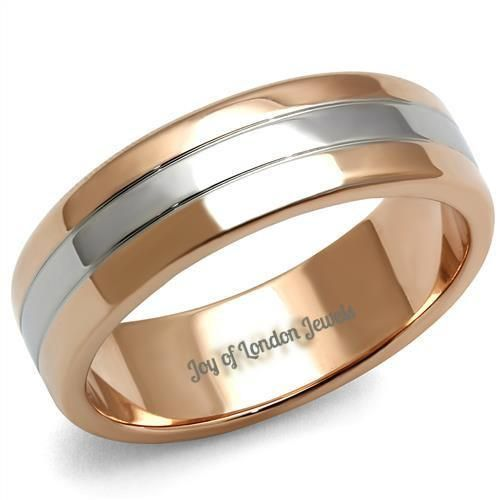 Men's 14K Rose Gold & Stainless Steel Wedding Bands Ring
