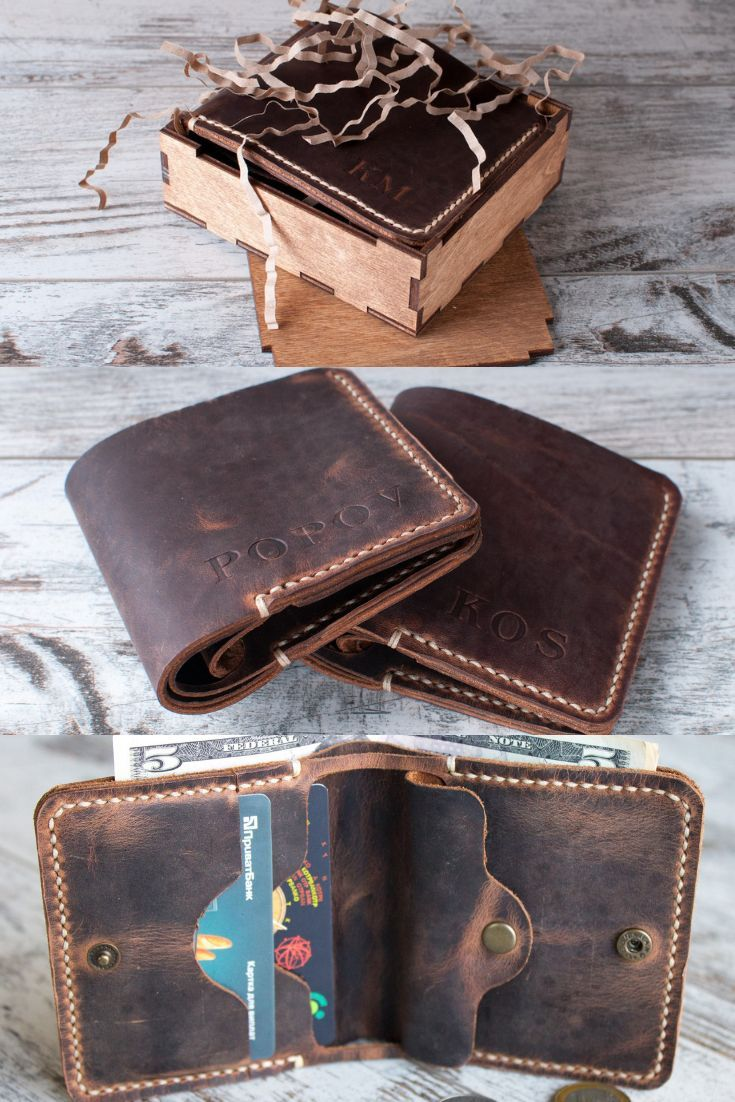 Corporate Gifts Ideas : Wallet men personalized Custom leather wallet Bifold wal...