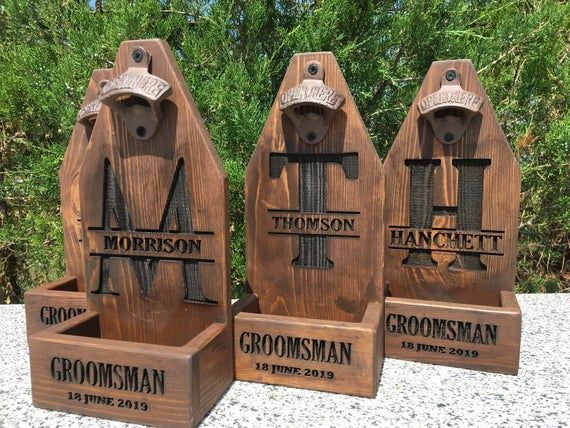 Groomsmen gift set of 13 -  Wall Mounting Beer Bottle Rustic Opener with Cap Cat...