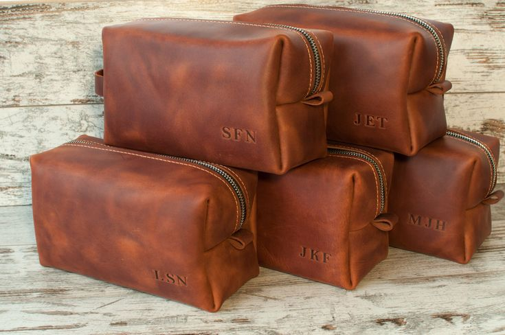 Leather dopp kit SET OF 8 Groomsmen Gift Groomsmen shaving bag Bestman gift Dopp...