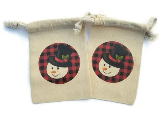 Snowman Christmas Set of 10 Muslin 4x6 Gift Bags Red Black Buffalo Plaid Stockin...