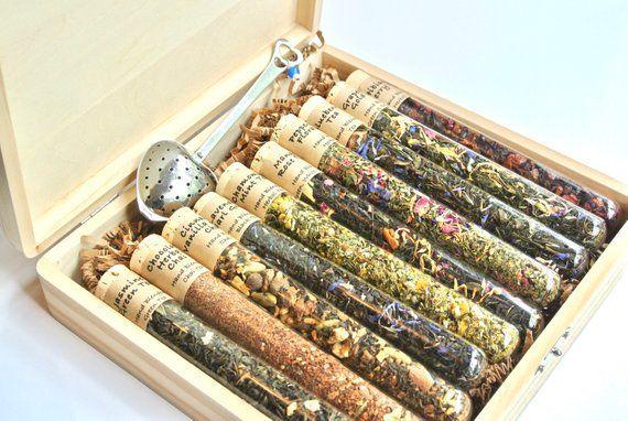 Tea Sampler Gift Set, 10 Test Tubes Loose Leaf Tea, Tea Gift Basket, Corporate G...