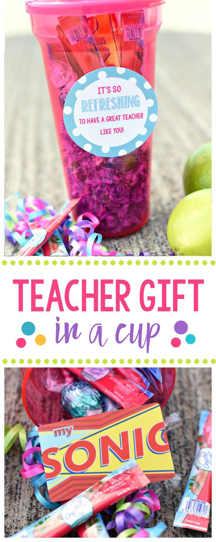 Cute Teacher Appreciation Gift Idea-Fill a cup full of fun for the teacher and a...
