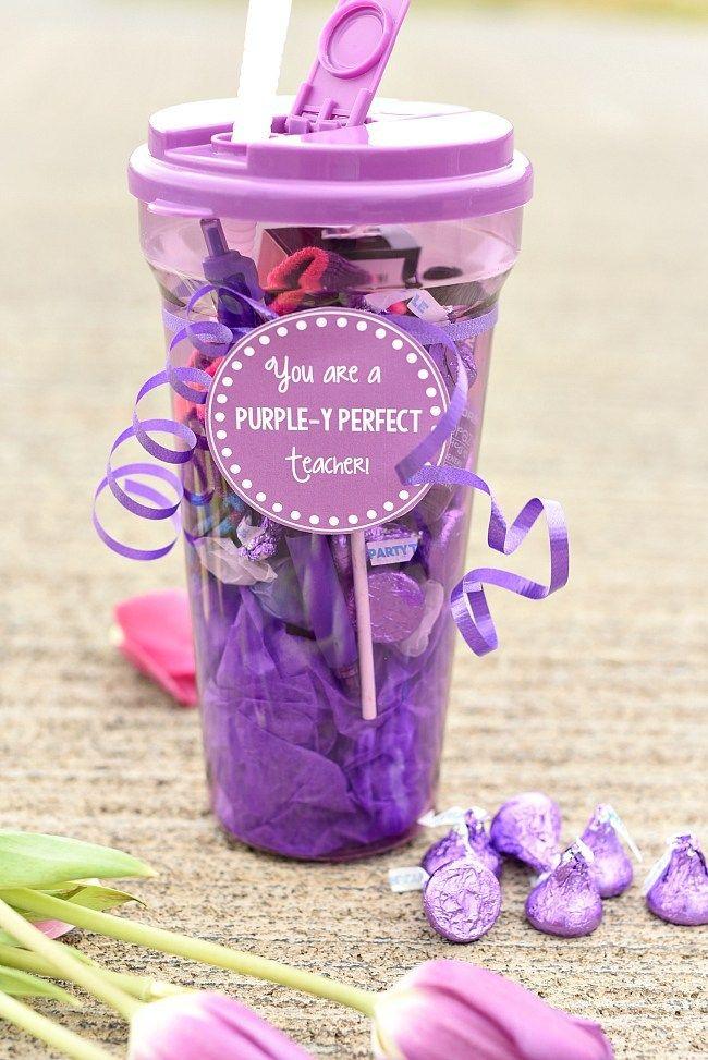 Purple Themed Teacher Appreciation Gift Idea-Fill a purple gift basket with all ...