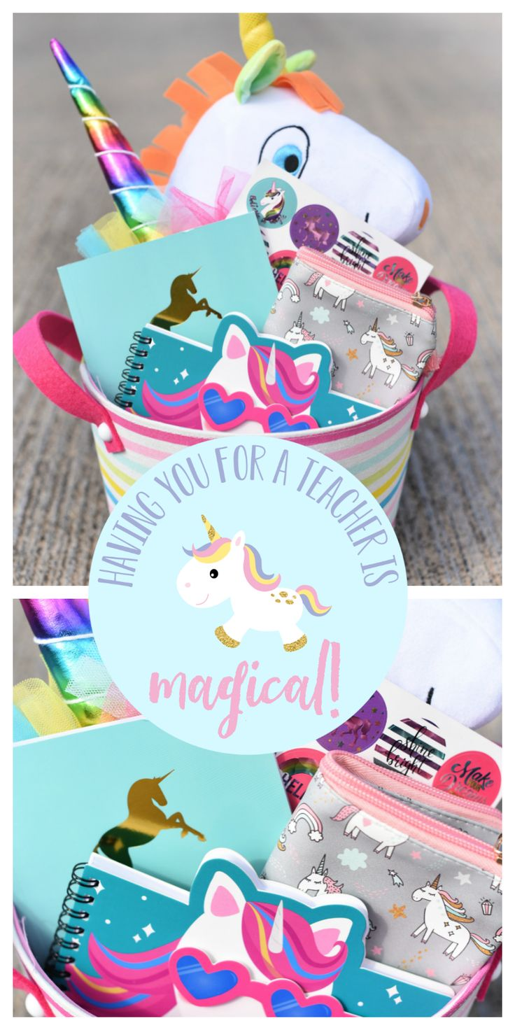 Unicorn Themed Teacher Gift-This cute gift basket is filled with cute unicorn it...