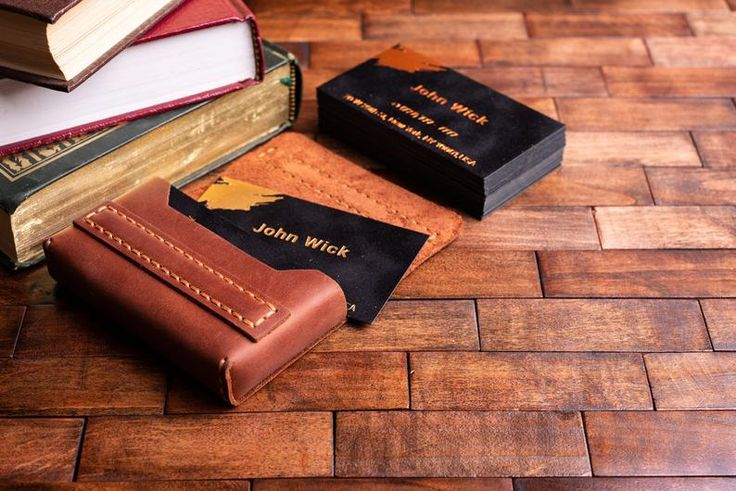 This vintage leather business card case is a perfect gift for boss, businessman,...