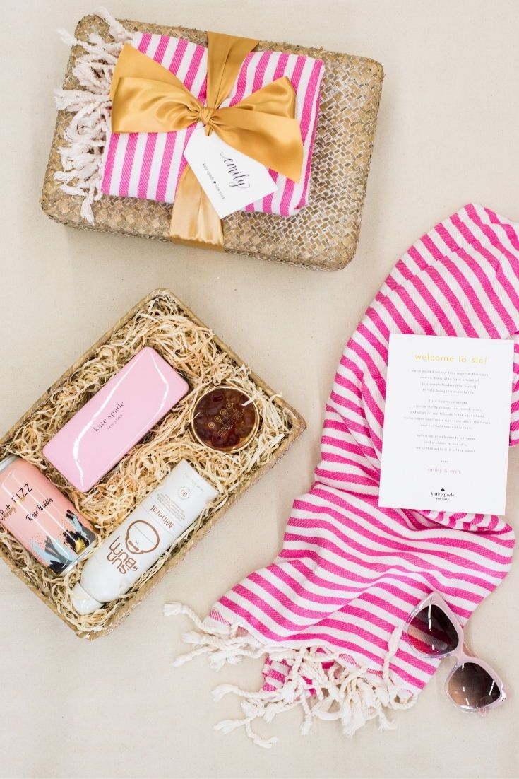 CORPORATE EVENT GIFTS//  Pink fashion company brand inspired gift boxes give a p...