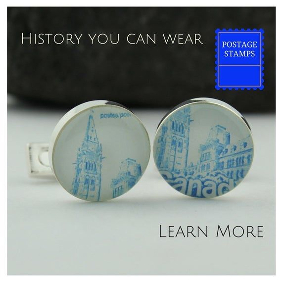 CANADA CUFFLINKS. Handmade Blue Cufflinks for Men Featuring Vintage Canada Stamp...