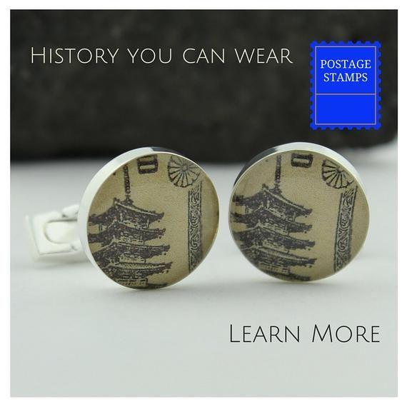 Japanese Cufflinks for Men. Vintage Japanese Pagoda Stamps Cuff Links Handmade P...
