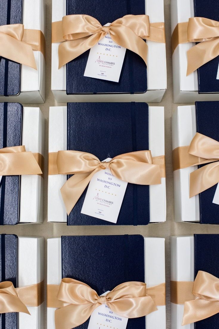 CORPORATE EVENT GIFTS//  Elegant DC themed gift boxes welcome stakeholders and p...
