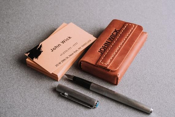 Business card holder-leather card case-card holder-business card case-corporate ...