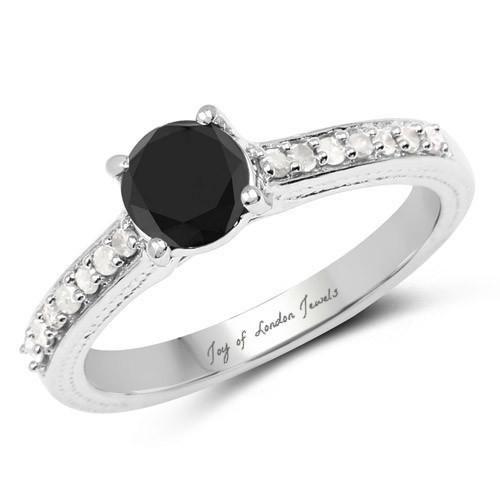 1.54 Carat Genuine Black Diamond and White Diamond Platinum Engagement Ring
