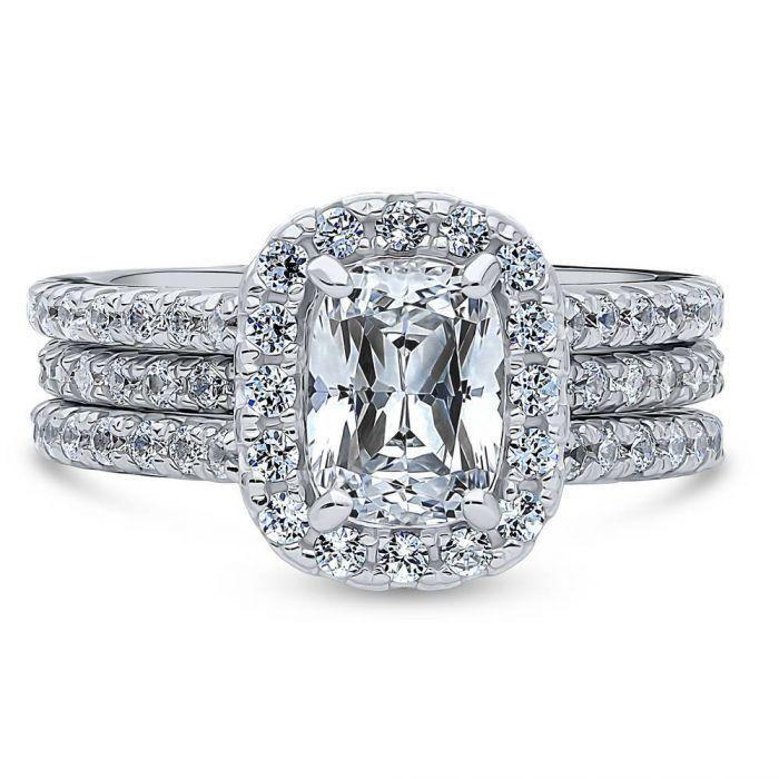 1.6CT Cushion Cut Russian Lab Diamond Bridal Set Wedding Band Ring