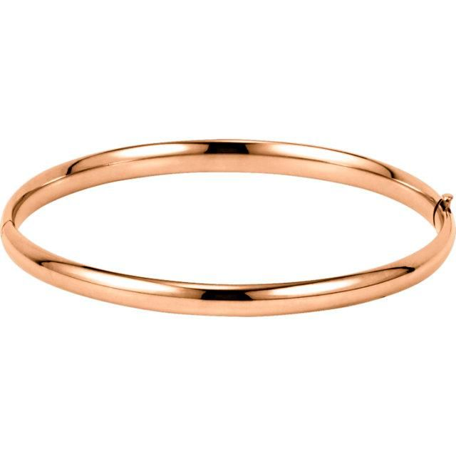 14K Gold Hinged Bangle Bracelet 4.75mm