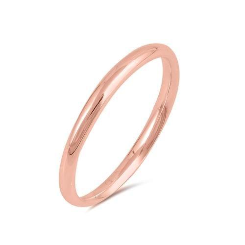 14K Rose Gold 2mm Wedding Band Ring