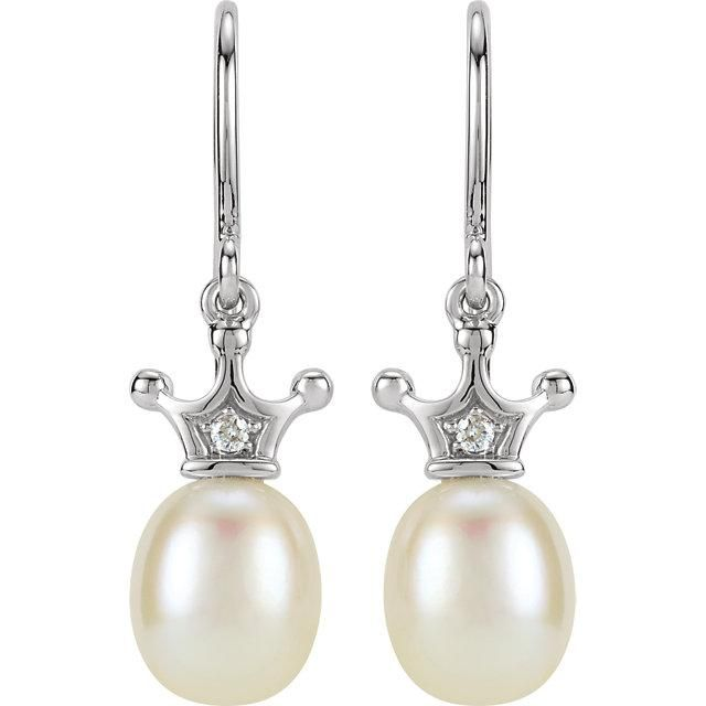 14K White Gold Freshwater Cultured Pearl & Ethically Mined Natural Diamond Crown...