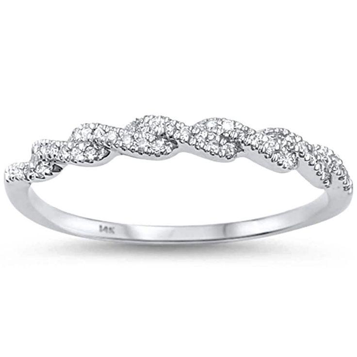 14K White Gold Natural Mined Diamond Twist Wedding Band