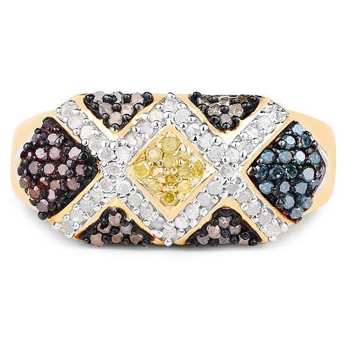 14K Yellow Gold Natural Mined Blue Red Brown Yellow Diamond Ring