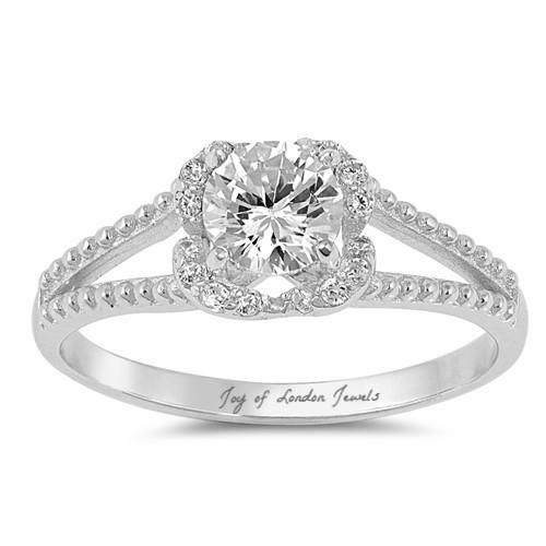 1CT Round Cut Russian Lab Diamond Engagement Ring