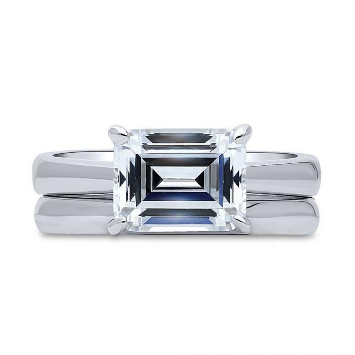 A Flawless 2.5CT Emerald Cut Solitaire Russian Lab Diamond Bridal Set