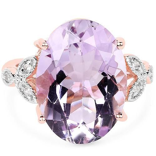 A Natural 10.50CT Oval Cut Rose de France Pink Amethyst And White Topaz 18K Rose...