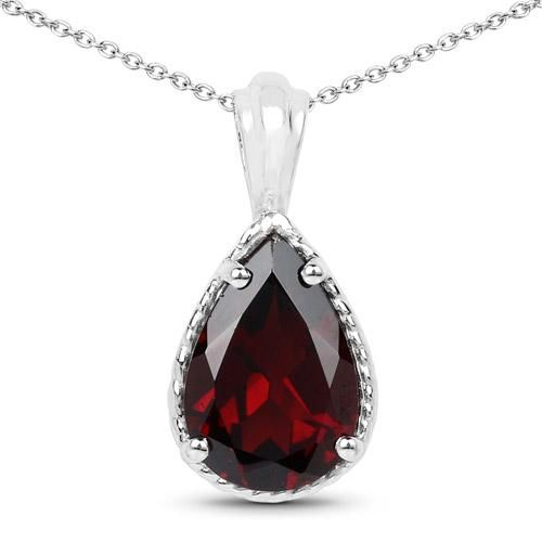 A Natural 3.5CT Pear Cut Red Garnet Pendant Necklace