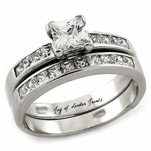 A Perfect 1.2CT Princess Cut Russian Lab Diamond Channel Set Wedding Ring Bridal...