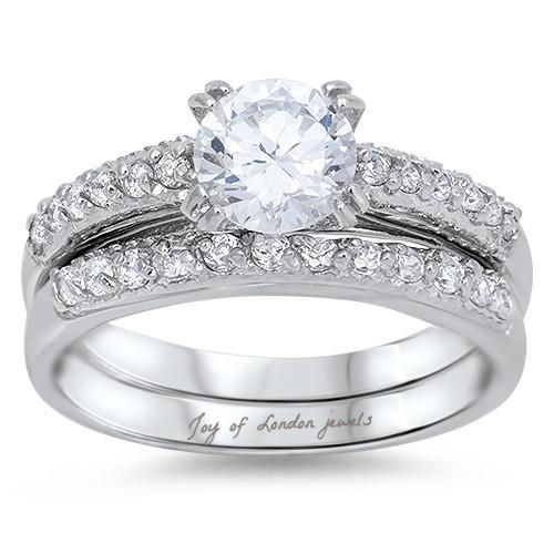 A Perfect 1.8CT Round Cut Russian Lab Diamond Solitaire Bridal Set Wedding Band ...