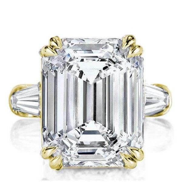A Perfect 18K Yellow Gold 9.9CT Emerald Cut Russian Lab Diamond Ring