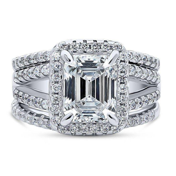 A Perfect 3CT Emerald Cut Halo Split Shank Lab Diamond Bridal Set