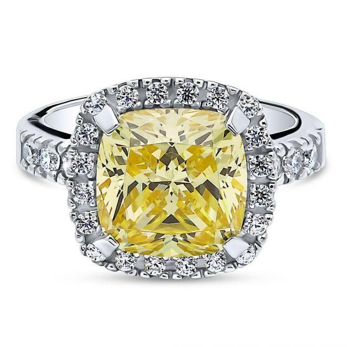 A Perfect 5.8CT Cushion Cut Canary Yellow Fancy Russian Lab Diamond Engagement H...