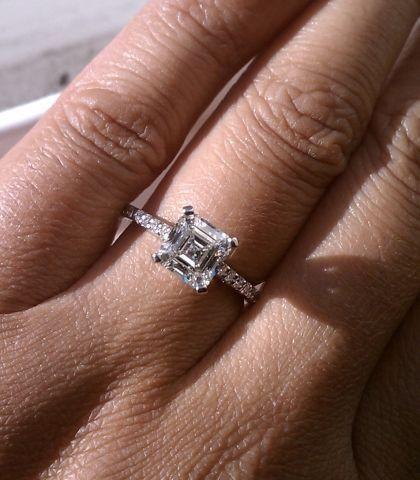 A Perfect Art Deco 3.3CT Asscher Cut Solitaire Russian Lab Diamond Engagement Ri...