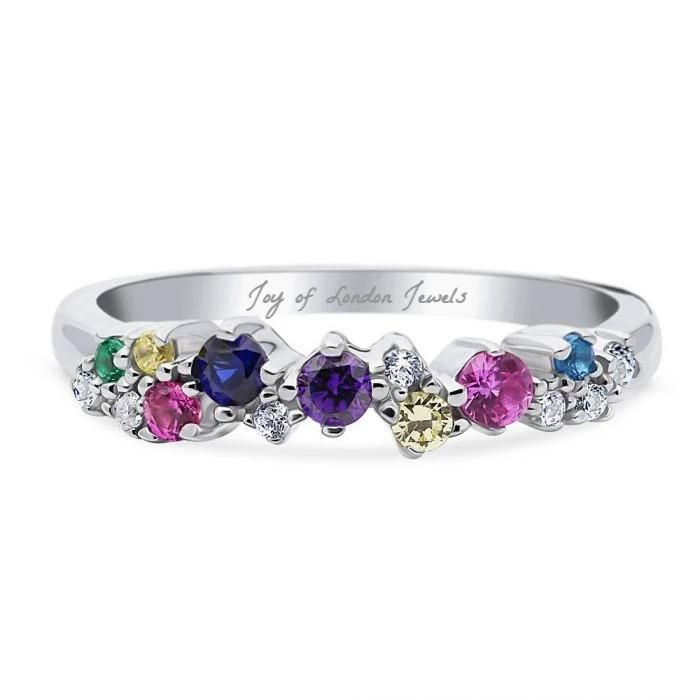 Blooming Color Round Cut Wedding Band Ring
