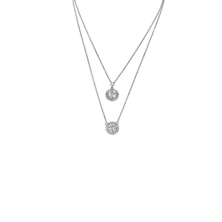 Double Chain Round Cubic Zirconia Halo Layered Necklace