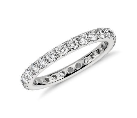 Ethically Mined 14K White Gold French Pave Round Cut Diamond Full Eternity Weddi...