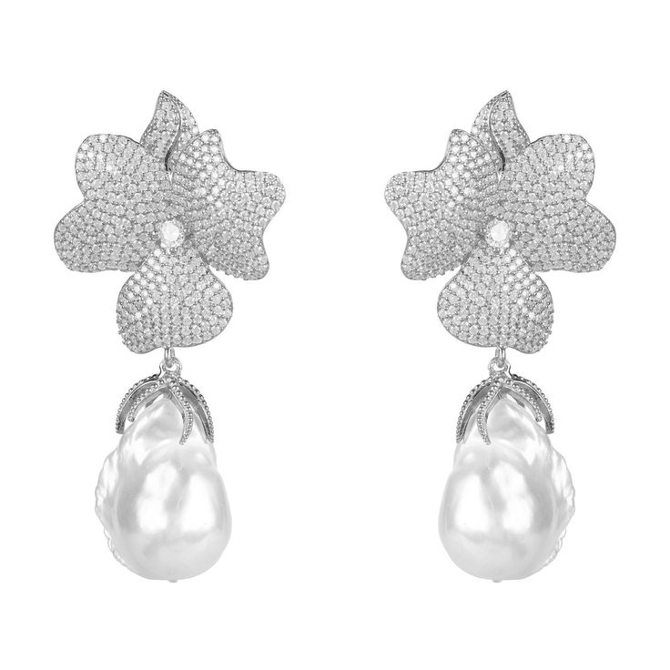 Floral Baroque Pearl Earrings