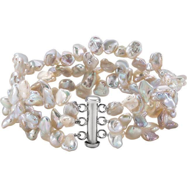 Freshwater Cultured Keshi Pearl Necklace or Bracelet