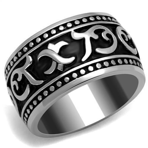 Men's Stainless & Black Wedding Band Ring